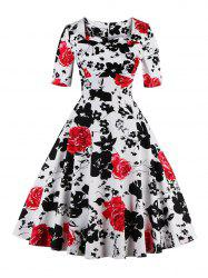 Vintage Sweetheart Neck Floral Print Pin Up Dress - RED