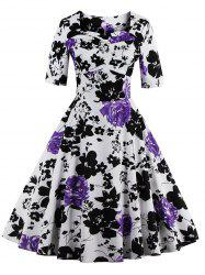 Vintage Sweetheart Neck Floral Print Pin Up Dress - PURPLE