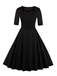 Vintage Sweetheart Neck Flare Pin Up Dress - BLACK