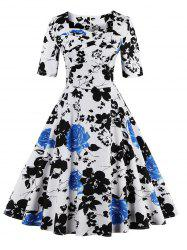 Vintage Sweetheart Neck Floral Print Pin Up Dress - BLUE