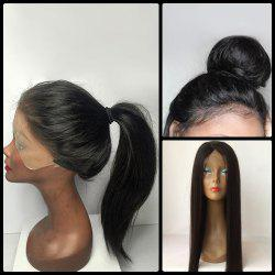 Long Straight Middle Parting Lace Front Human Hair Wig - BLACK