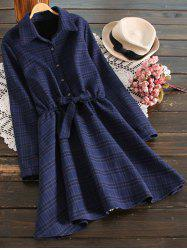 Fleece Lining Checked Shirt Dress