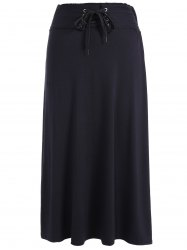Lace-Up High Waist Maxi Skirt - BLACK