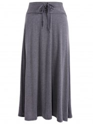Lace-Up High Waist Maxi Skirt - DEEP GRAY ONE SIZE