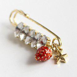 Rhinestone Star Strawberry Brooch - GOLDEN