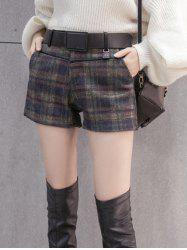 Mini Checked Woolen Shorts
