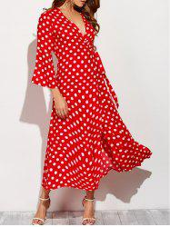 Christmas Polka Dot Tea Length Wrap Dress - RED WITH WHITE