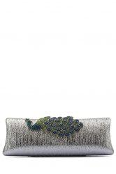 Peacock Embellished PU Evening Clutch