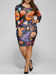 Pumpkin Print Halloween Bodycon Dress -