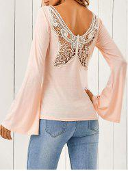 Butterfly Pattern Flare Sleeve T-Shirt -