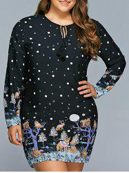 Plus Size Polka Dot Long Sleeve Christmas Tunic Dress -
