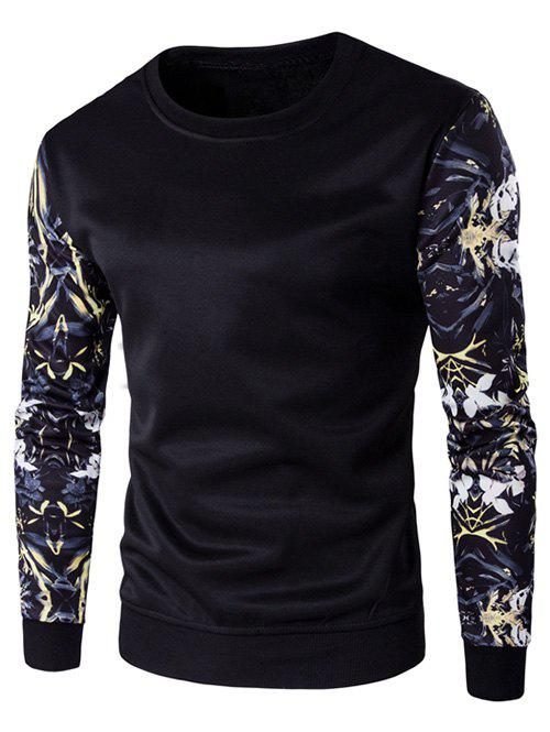 Outfit Rib Cuff Floral Sleeve Crew Neck Sweatshirt
