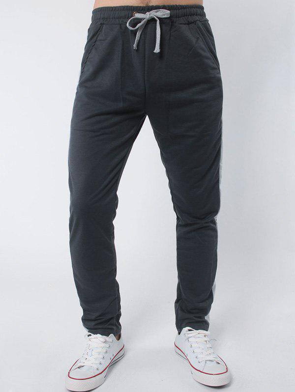 Stripe Embellished Drawstring Casual PantsMEN<br><br>Size: M; Color: DEEP GRAY; Style: Casual; Pant Style: Straight; Pant Length: Long Pants; Material: Cotton,Polyester; Fit Type: Regular; Front Style: Flat; Closure Type: Drawstring; Waist Type: Mid; With Belt: No; Weight: 0.250kg; Package Contents: 1 x Pants;