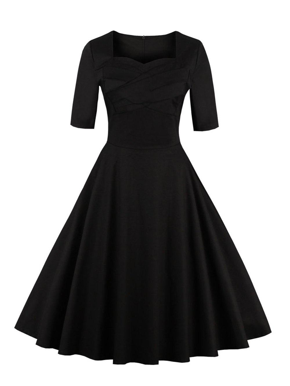 Hot Vintage Sweetheart Neck Flare Pin Up Dress
