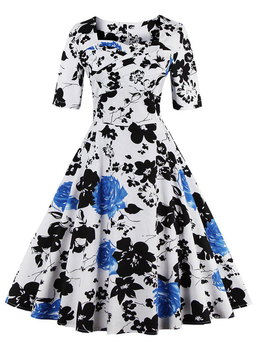 2018 Vintage Sweetheart Neck Floral Print Pin Up Dress In Blue S ...