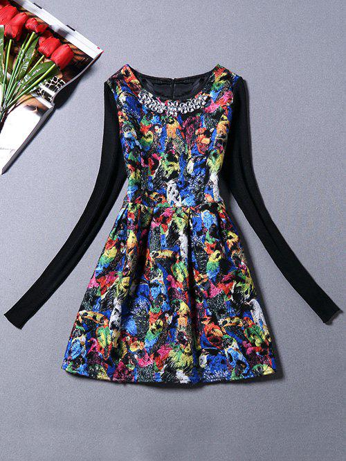 Shops Sweater Sleeve Parrot Print Dress With Necklace