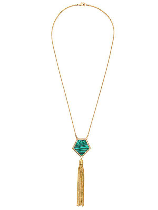 Online Faux Gemstone Tassel Sweater Chain