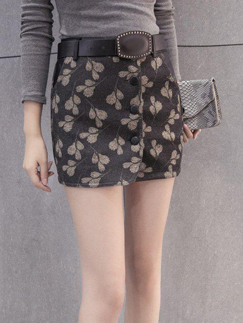 Shops Printed Woolen Skirt With Belt