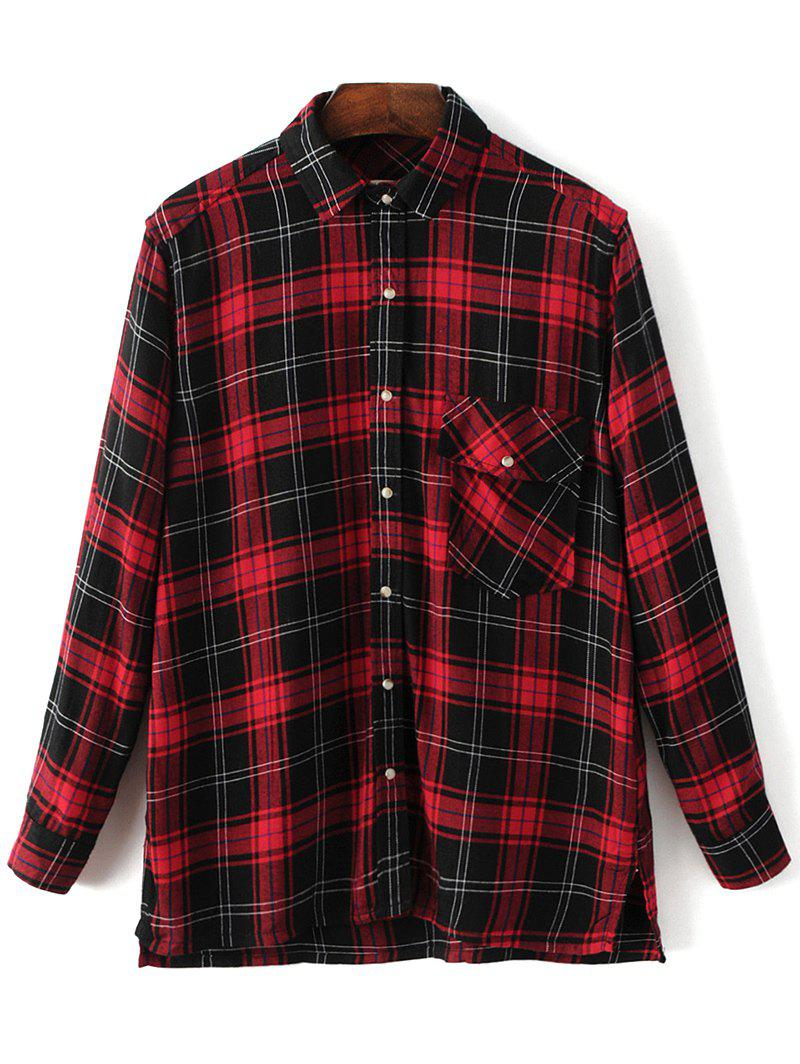 New Dragon Embroidered Tartan Pocket Shirt