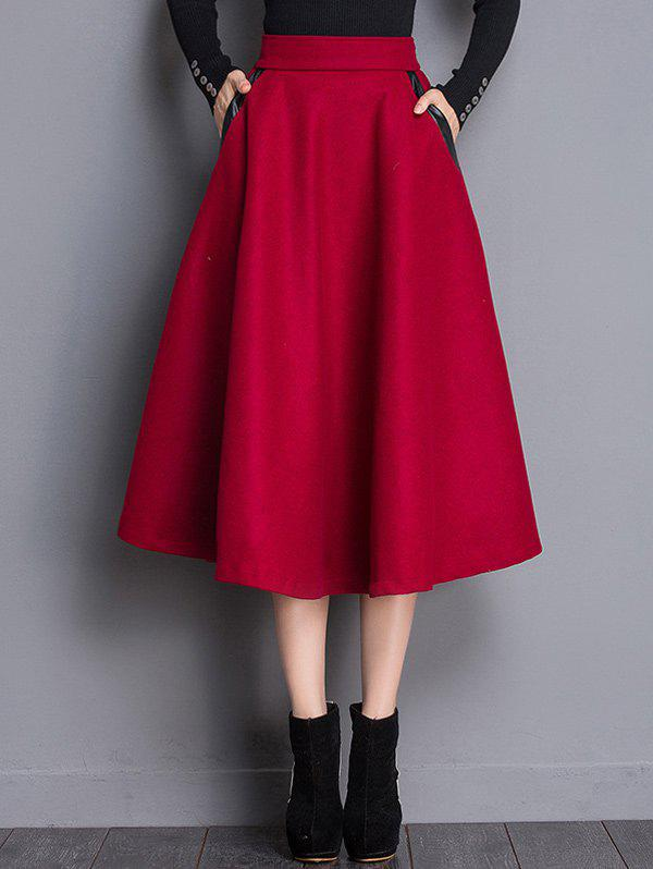 Shop A Line Wool Blend Midi Skirt With Pocket