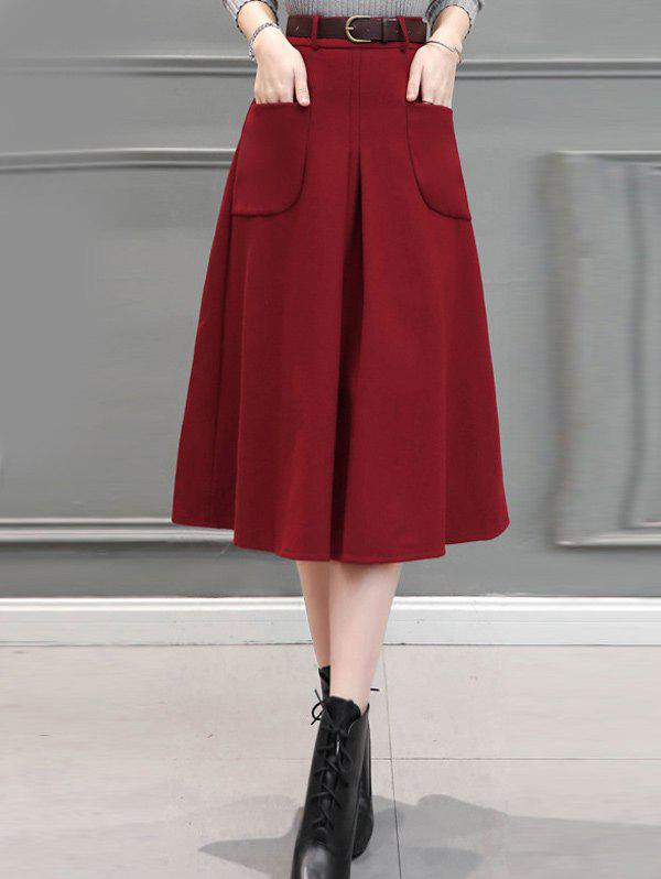 Shops Front Pocket Wool Blend  Midi Skirt