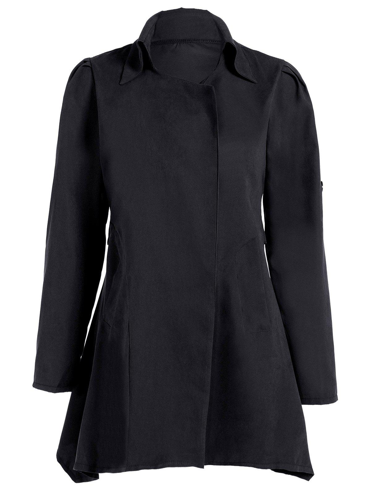 Asymmetric Duster CoatWOMEN<br><br>Size: 3XL; Color: BLACK; Clothes Type: Others; Material: Polyester; Type: Wide-waisted; Shirt Length: Long; Sleeve Length: Full; Collar: Turn-down Collar; Pattern Type: Solid; Embellishment: Vintage; Style: Fashion; Season: Fall,Spring,Winter; Weight: 0.246kg; Package Contents: 1 x Coat;