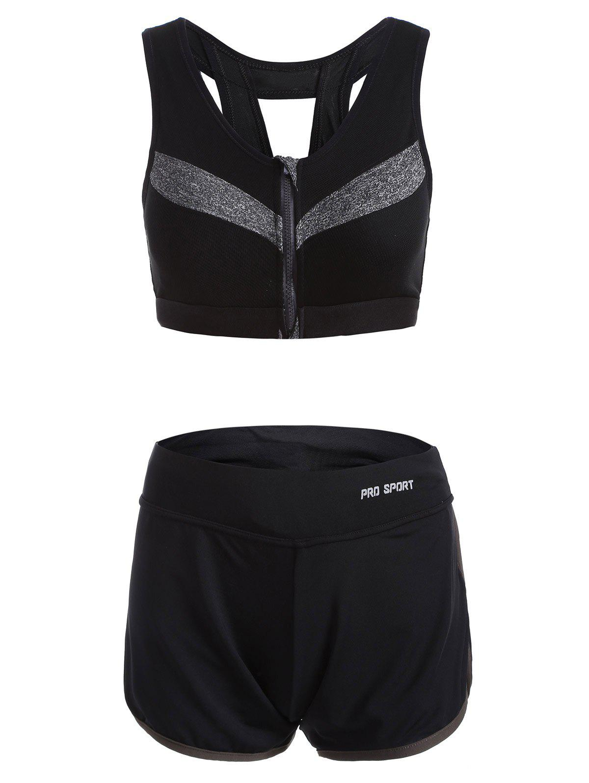 Shop Zipper Design Patchwork Sporty Bra and Gym Shorts