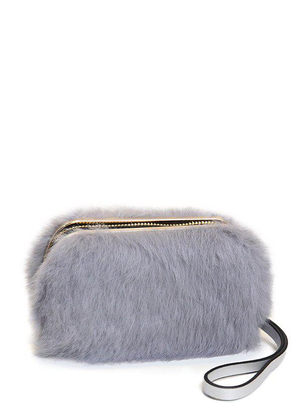 Discount Furry Metal Trimmed Zip Around Evening Bag