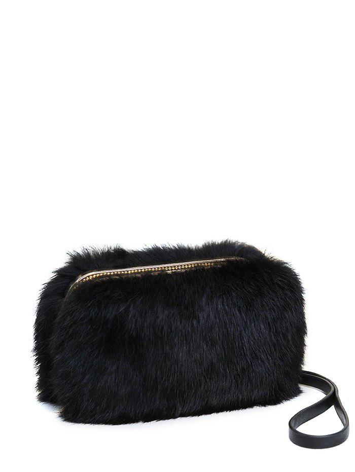 Affordable Furry Metal Trimmed Zip Around Evening Bag