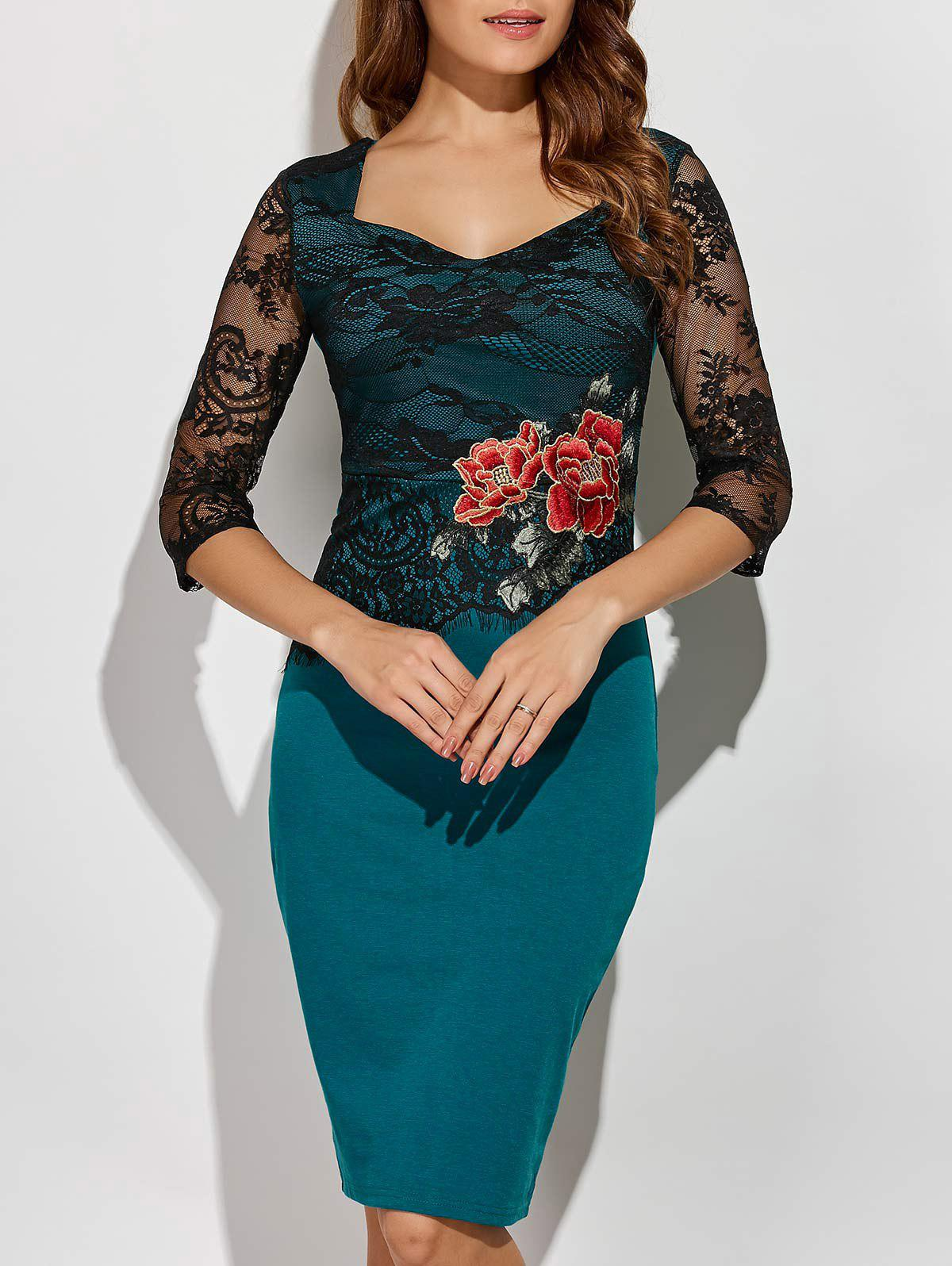 Shop Rose Embroidered Lace Insert Pencil Sweetheart Dress
