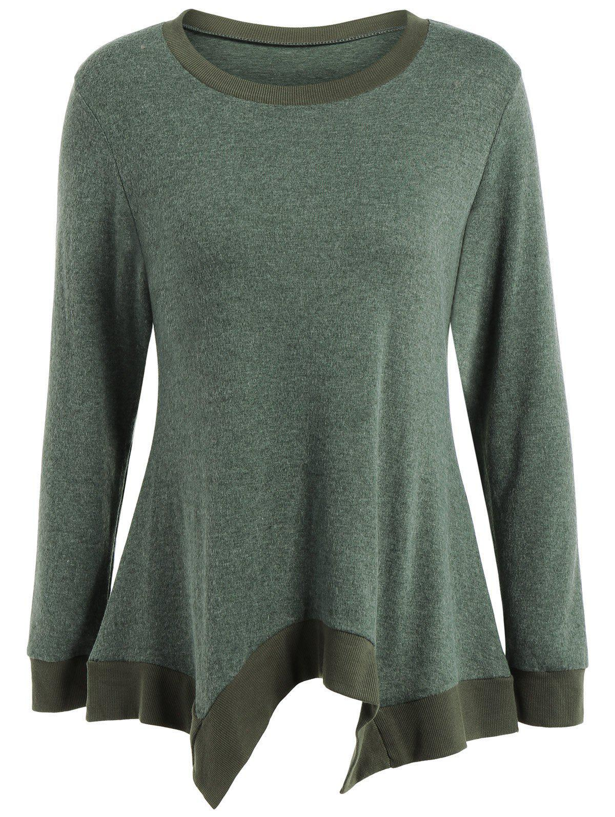 Online Autumn Covered Edge Asymmetric Pullover Knitwear