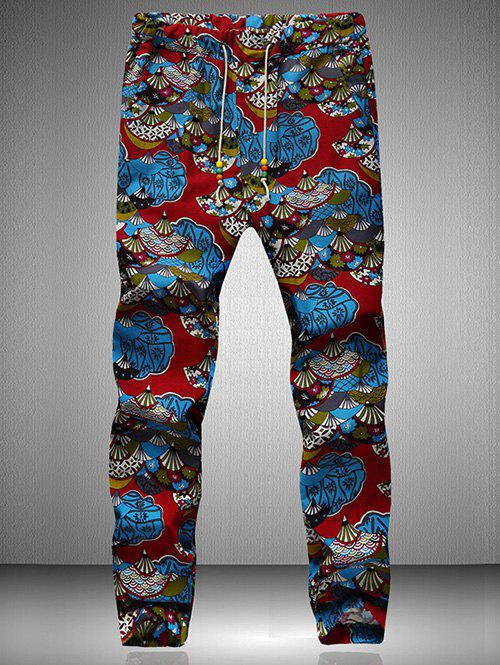 Drawstring Waist Retro Printed Jogger PantsMEN<br><br>Size: XL; Color: BLUE AND RED; Style: Vintage; Pant Style: Jogger Pants; Pant Length: Long Pants; Material: Cotton,Polyester; Fit Type: Regular; Front Style: Flat; Closure Type: Drawstring; Waist Type: Mid; With Belt: No; Weight: 0.265kg; Package Contents: 1 x Pants;