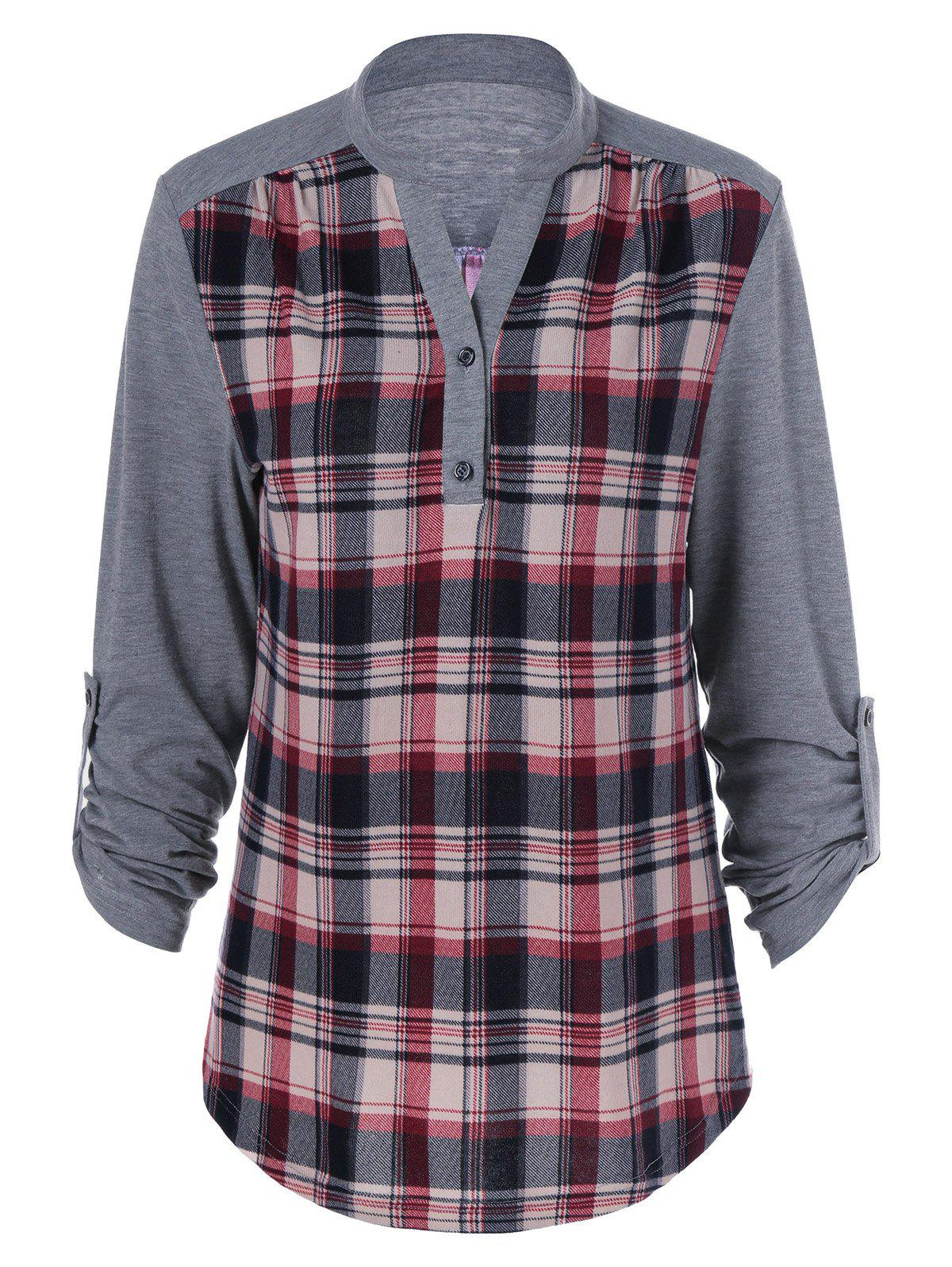 Plaid Patchwork Adjustable Sleeve T-ShirtWOMEN<br><br>Size: XL; Color: CHECKED; Material: Polyester; Sleeve Length: Full; Collar: Stand-Up Collar; Style: Casual; Pattern Type: Plaid; Season: Fall,Spring; Weight: 0.3800kg; Package Contents: 1 x T-Shirt;