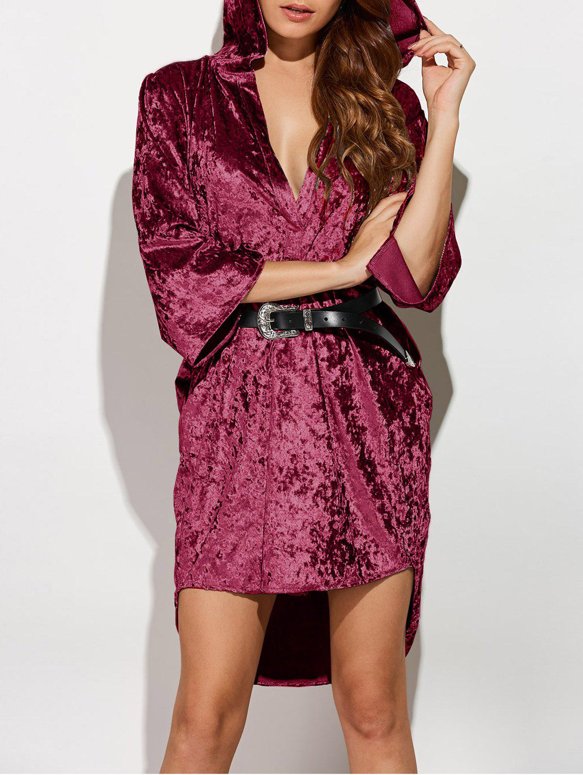 New Three Quarter Sleeve Hooded Velvet Dress