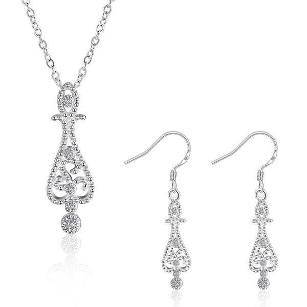 Water Drop Jewelry SetJEWELRY<br><br>Color: SILVER; Item Type: Pendant Necklace; Gender: For Women; Style: Trendy; Shape/Pattern: Water Drop; Weight: 0.040kg; Package Contents: 1 x Necklace 1 x Earring (Pair);