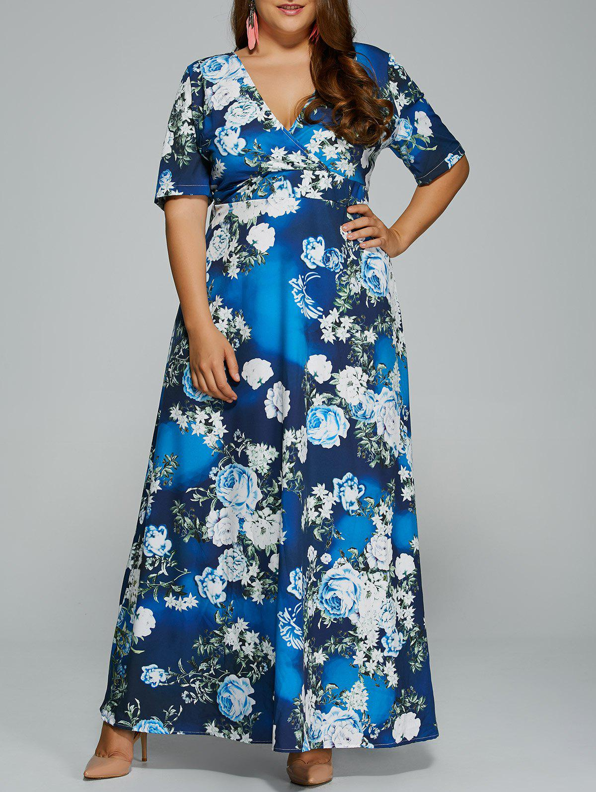 Floral 3xl Floral Print Maxi Plus Size Hawaiian Maxi Dress ...