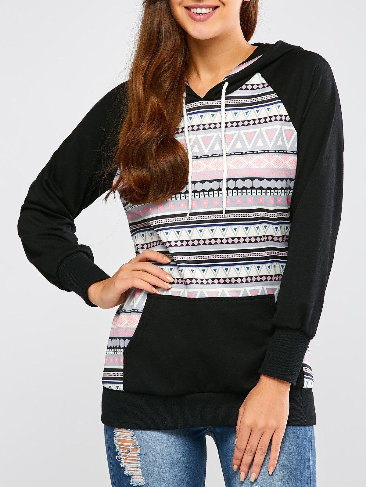 Fashion Casual Raglan Sleeve Geometric Pullover Hoodie