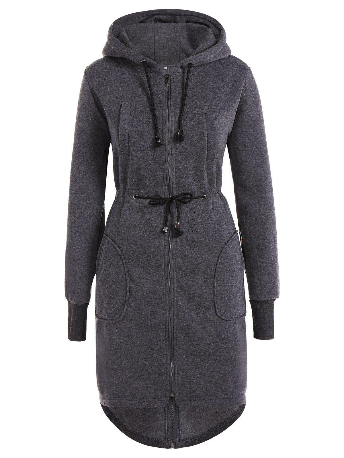 Drawstring Hooded Coat with PocketsWOMEN<br><br>Size: L; Color: GRAY; Clothes Type: Wool &amp; Blends; Material: Polyester; Type: Slim; Shirt Length: Long; Sleeve Length: Full; Collar: Hooded; Pattern Type: Solid; Embellishment: Zippers; Style: Casual; Season: Fall,Spring; Weight: 0.720kg; Package Contents: 1 x Coat;