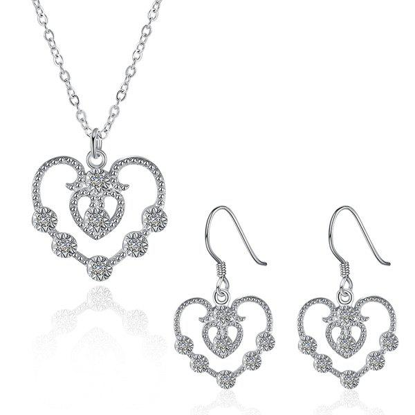 Affordable Rhinestone Hollowed Heart Jewelry Set