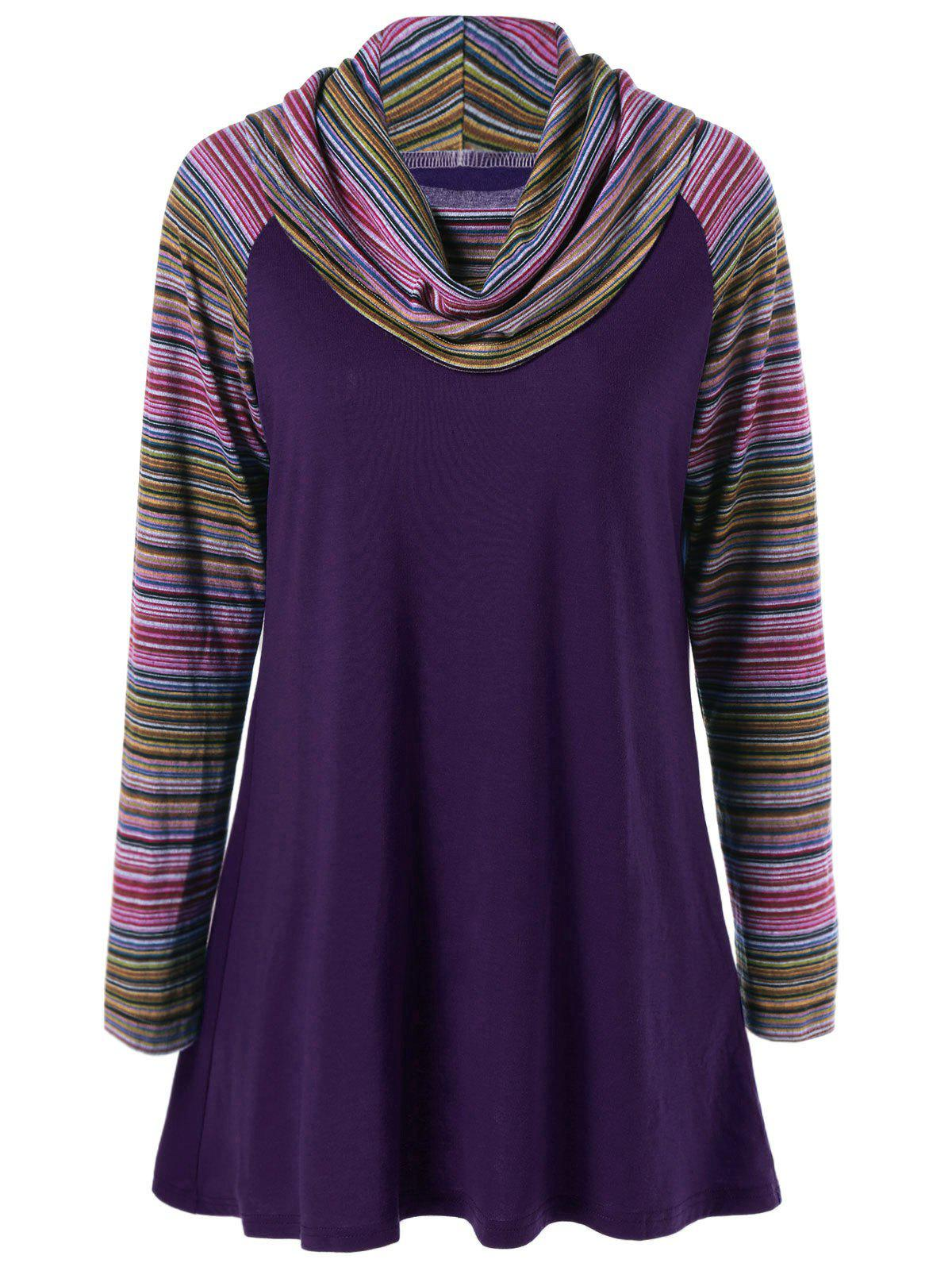 Cowl Neck Colorful Striped T-ShirtWOMEN<br><br>Size: XL; Color: PURPLE; Material: Polyester; Sleeve Length: Full; Collar: Cowl Neck; Style: Streetwear; Pattern Type: Striped; Season: Fall,Spring,Winter; Weight: 0.370kg; Package Contents: 1 x T-Shirt;