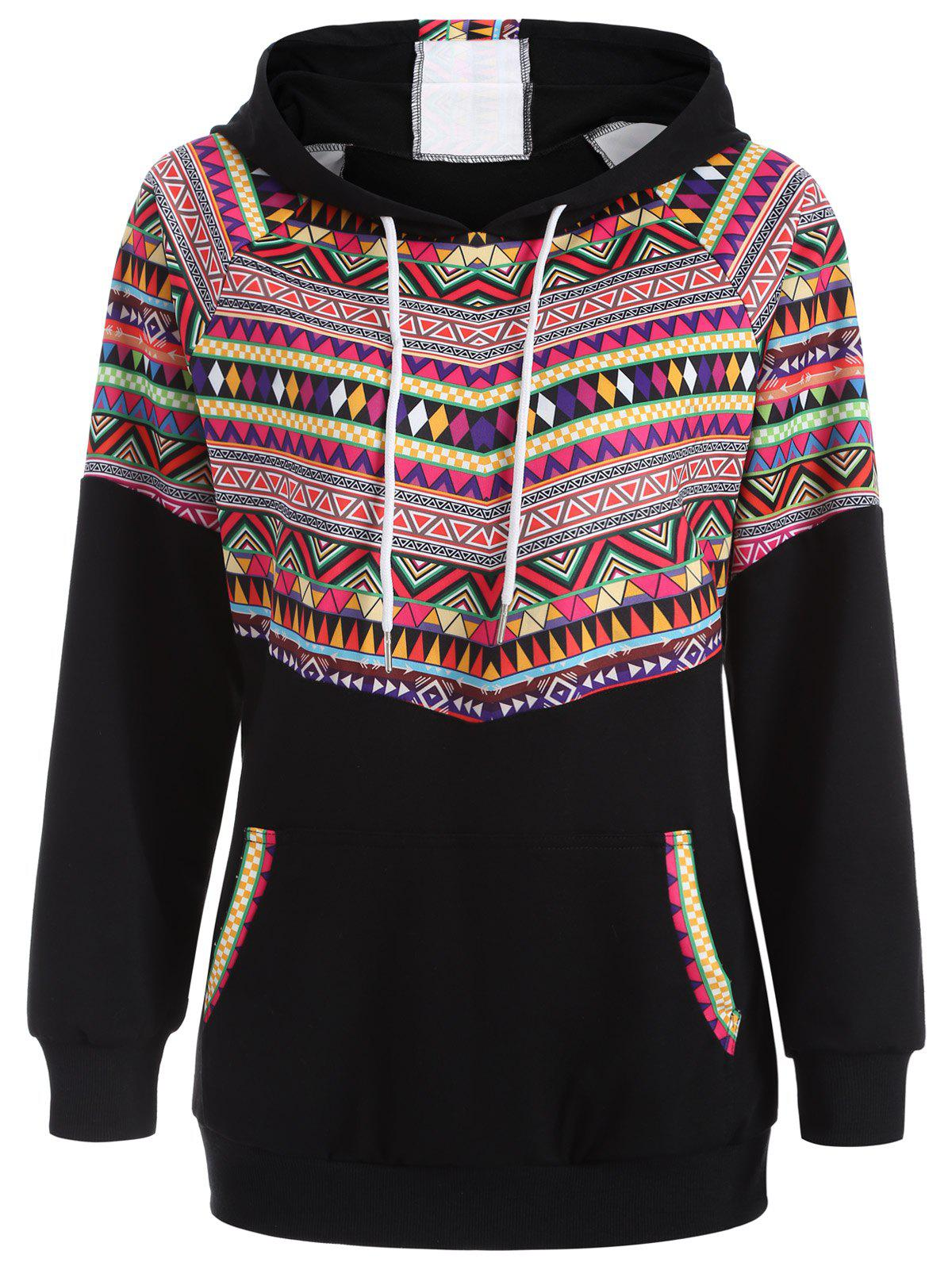 Fashion Casual Raglan Sleeve Pullover Geometric Hoodie