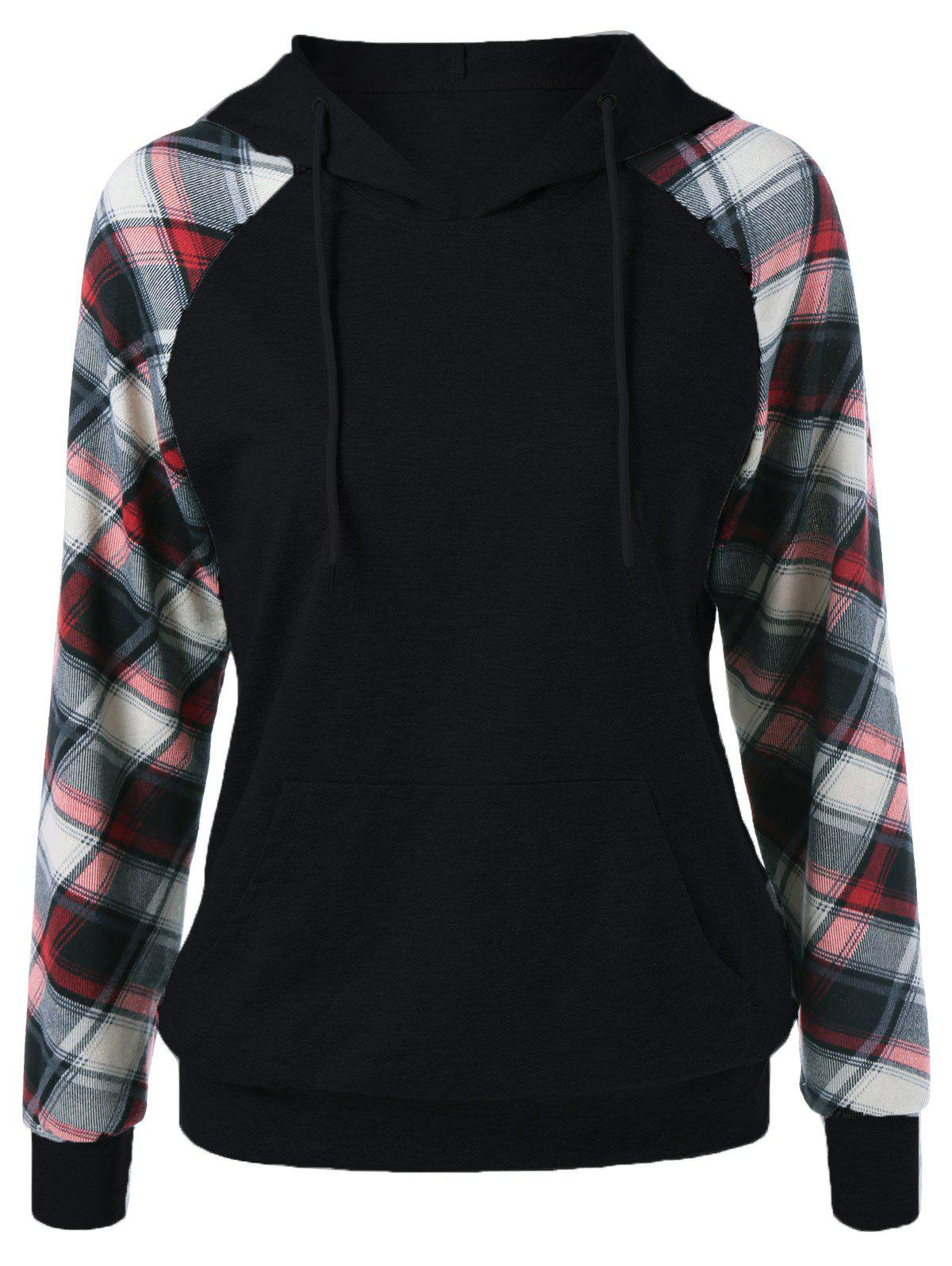 Affordable Plaid Trim Single Pocket Hoodie
