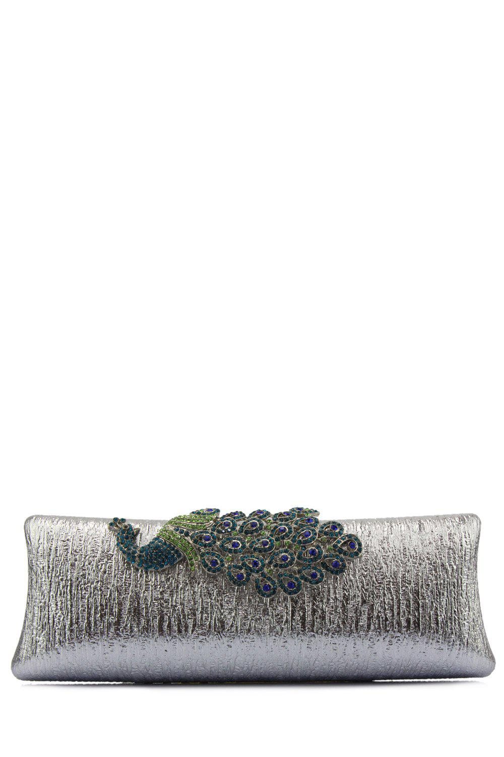 Cheap Peacock Embellished PU Evening Clutch