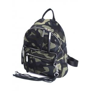 Splicing Camouflage Pattern Tassels Backpack -