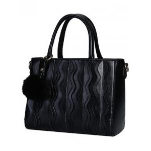 Stitching Wavy Stripe Pattern Metal Tote Bag - BLACK