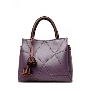 Geometric Pattern Stitching Colour Block Tote Bag - Purple