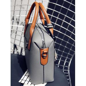 Textured Leather Tassels Color Spliced Tote Bag -