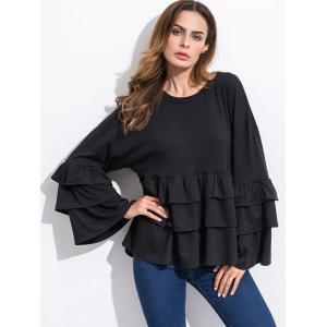 Long Sleeve Tiered Blouse - BLACK M