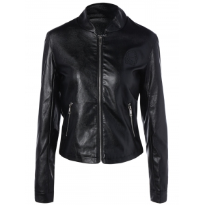 Short Faux Leather Bomber Jacket