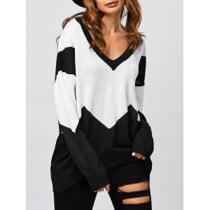 Patched Loose V Neck Sweater - Black - L